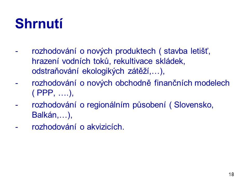 18 Shrnutí -rozhodování o nových produktech ( stavba letišť, hrazení vodních toků, rekultivace skládek, odstraňování ekologikých zátěží,…), -rozhodování o nových obchodně finančních modelech ( PPP, ….), -rozhodování o regionálním působení ( Slovensko, Balkán,…), -rozhodování o akvizicích.
