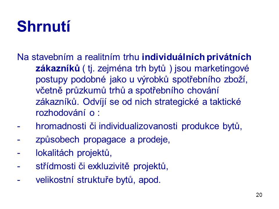 20 Shrnutí Na stavebním a realitním trhu individuálních privátních zákazníků ( tj. zejména trh bytů ) jsou marketingové postupy podobné jako u výrobků