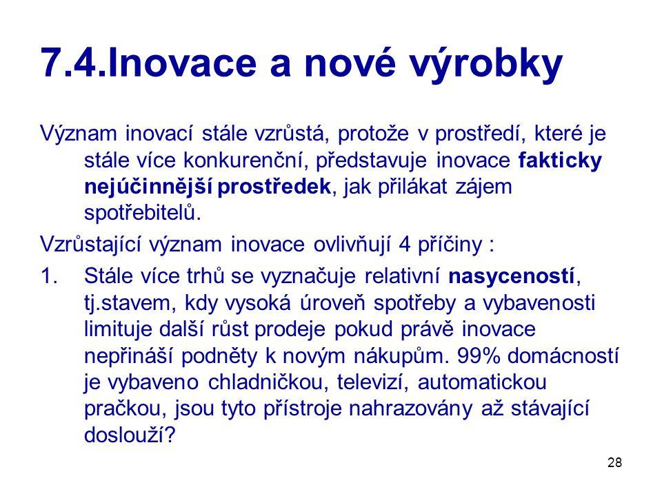 28 7.4.Inovace a nové výrobky Význam inovací stále vzrůstá, protože v prostředí, které je stále více konkurenční, představuje inovace fakticky nejúčin