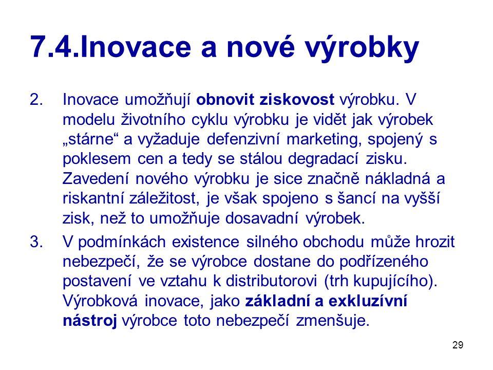 29 7.4.Inovace a nové výrobky 2.Inovace umožňují obnovit ziskovost výrobku.