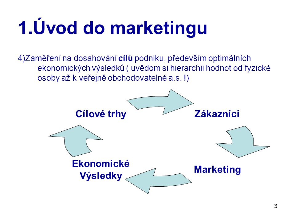 3 1.Úvod do marketingu 4)Zaměření na dosahování cílů podniku, především optimálních ekonomických výsledků ( uvědom si hierarchii hodnot od fyzické osoby až k veřejně obchodovatelné a.s.