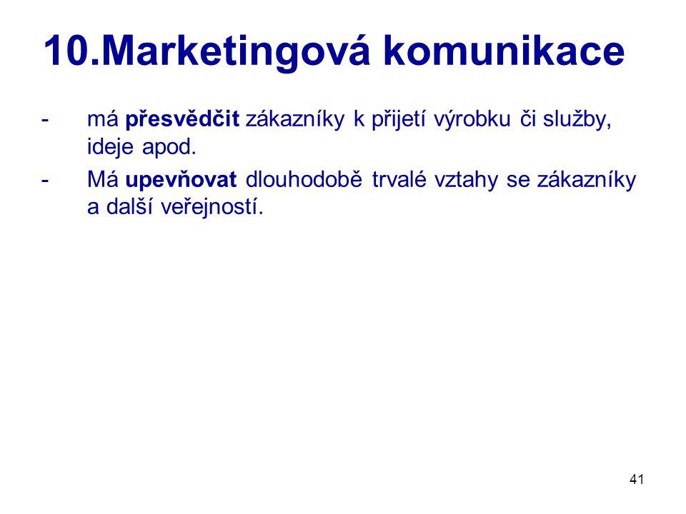 41 10.Marketingová komunikace -má přesvědčit zákazníky k přijetí výrobku či služby, ideje apod. -Má upevňovat dlouhodobě trvalé vztahy se zákazníky a