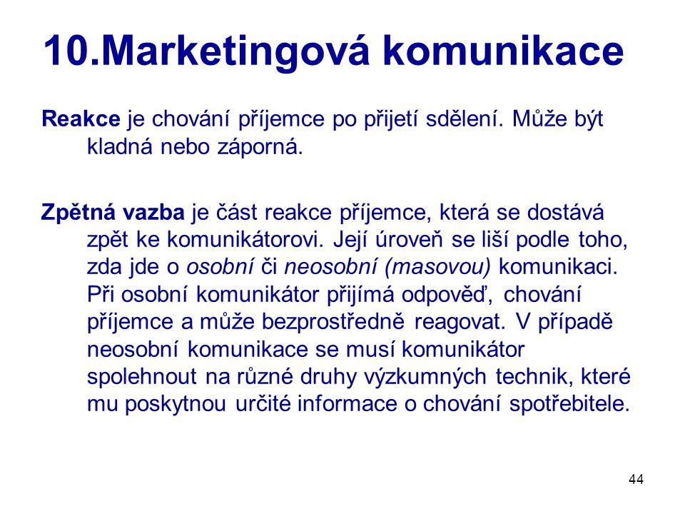 44 10.Marketingová komunikace Reakce je chování příjemce po přijetí sdělení. Může být kladná nebo záporná. Zpětná vazba je část reakce příjemce, která