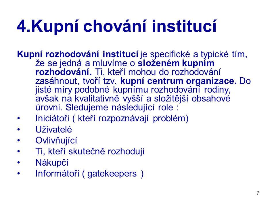 7 4.Kupní chování institucí Kupní rozhodování institucí je specifické a typické tím, že se jedná a mluvíme o složeném kupním rozhodování. Ti, kteří mo