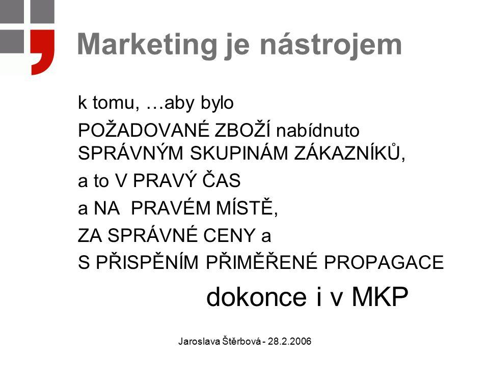 Jaroslava Štěrbová - 28.2.2006 Marketing je nástrojem k tomu, …aby bylo POŽADOVANÉ ZBOŽÍ nabídnuto SPRÁVNÝM SKUPINÁM ZÁKAZNÍKŮ, a to V PRAVÝ ČAS a NA PRAVÉM MÍSTĚ, ZA SPRÁVNÉ CENY a S PŘISPĚNÍM PŘIMĚŘENÉ PROPAGACE dokonce i v MKP