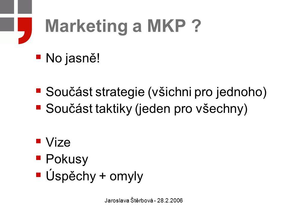 Jaroslava Štěrbová - 28.2.2006 Marketing a MKP ?  No jasně!  Součást strategie (všichni pro jednoho)  Součást taktiky (jeden pro všechny)  Vize 