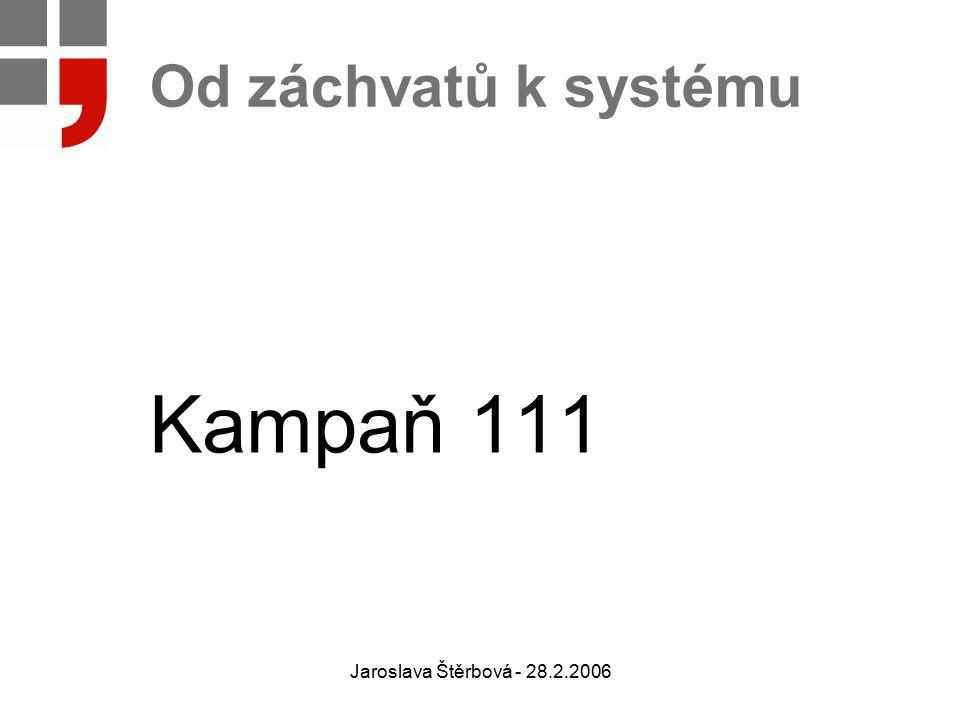 Jaroslava Štěrbová - 28.2.2006 Od záchvatů k systému Kampaň 111