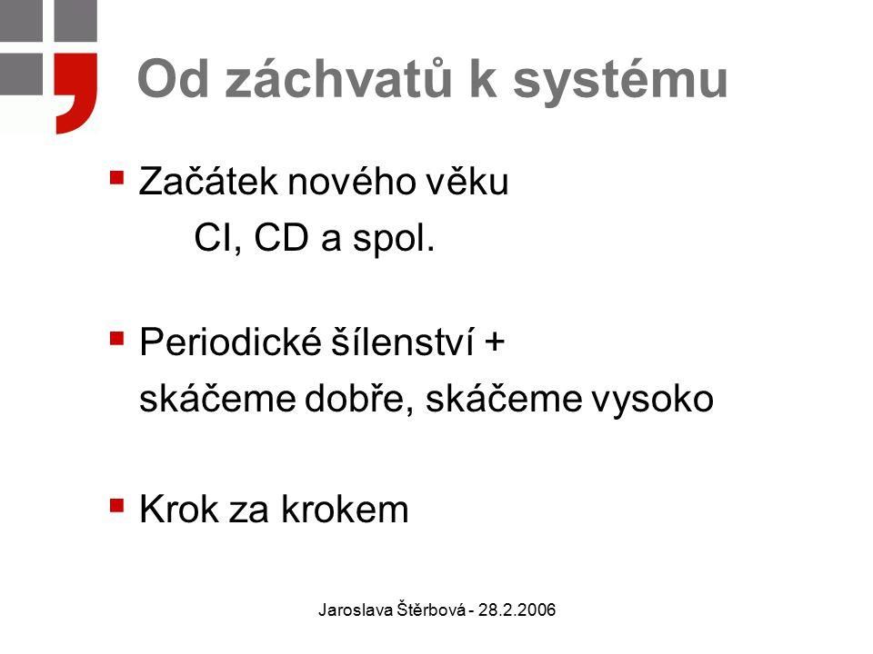 Jaroslava Štěrbová - 28.2.2006 Od záchvatů k systému  Začátek nového věku CI, CD a spol.  Periodické šílenství + skáčeme dobře, skáčeme vysoko  Kro