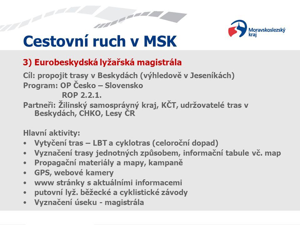 Cestovní ruch v MSK 3) Eurobeskydská lyžařská magistrála Cíl: propojit trasy v Beskydách (výhledově v Jeseníkách) Program: OP Česko – Slovensko ROP 2.