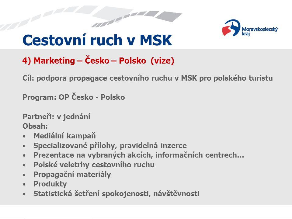 Cestovní ruch v MSK 4) Marketing – Česko – Polsko (vize) Cíl: podpora propagace cestovního ruchu v MSK pro polského turistu Program: OP Česko - Polsko