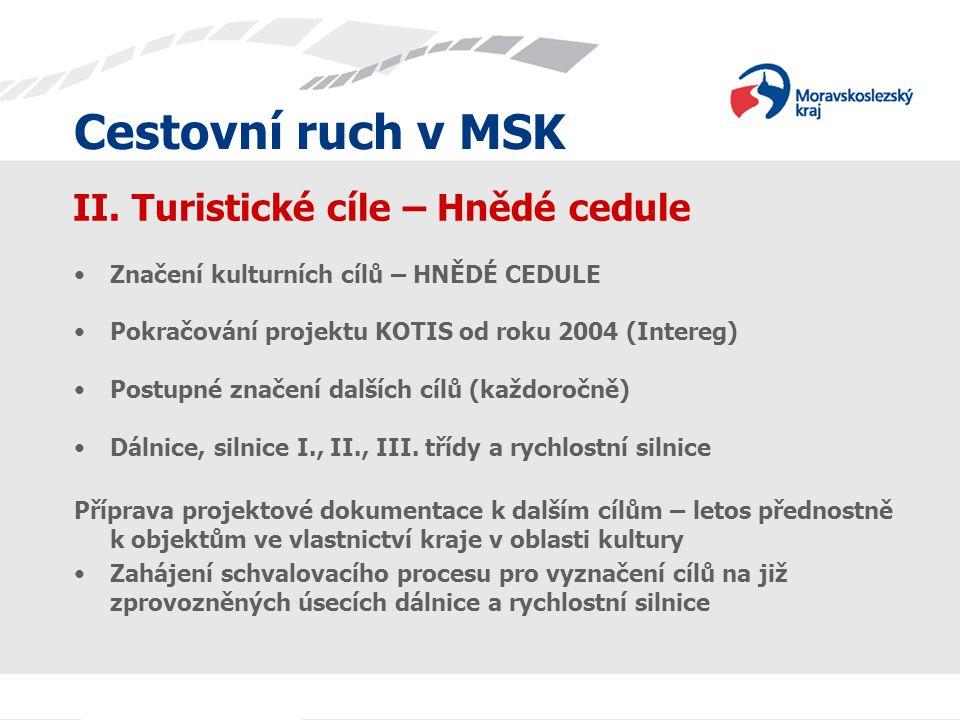 Cestovní ruch v MSK II. Turistické cíle – Hnědé cedule Značení kulturních cílů – HNĚDÉ CEDULE Pokračování projektu KOTIS od roku 2004 (Intereg) Postup