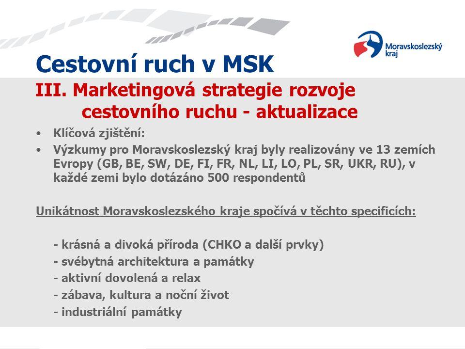 Cestovní ruch v MSK III. Marketingová strategie rozvoje cestovního ruchu - aktualizace Klíčová zjištění: Výzkumy pro Moravskoslezský kraj byly realizo