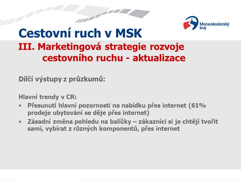 Cestovní ruch v MSK III. Marketingová strategie rozvoje cestovního ruchu - aktualizace Dílčí výstupy z průzkumů: Hlavní trendy v CR: Přesunutí hlavní