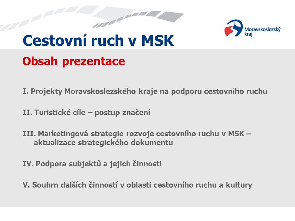 Cestovní ruch v MSK Obsah prezentace I. Projekty Moravskoslezského kraje na podporu cestovního ruchu II. Turistické cíle – postup značení III. Marketi