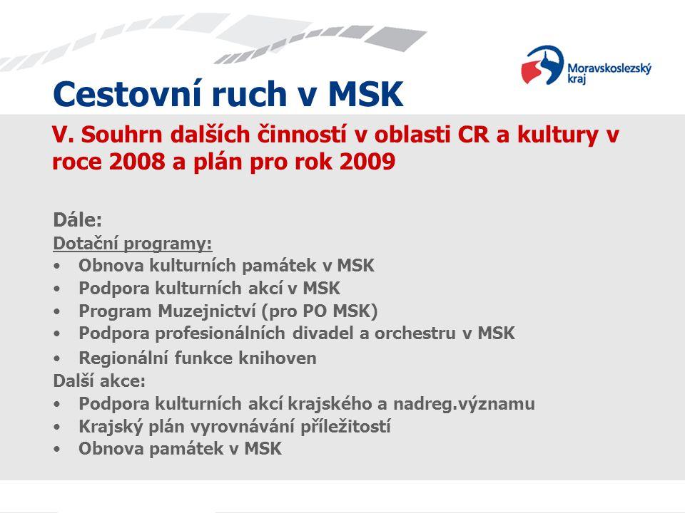 Cestovní ruch v MSK V. Souhrn dalších činností v oblasti CR a kultury v roce 2008 a plán pro rok 2009 Dále: Dotační programy: Obnova kulturních památe