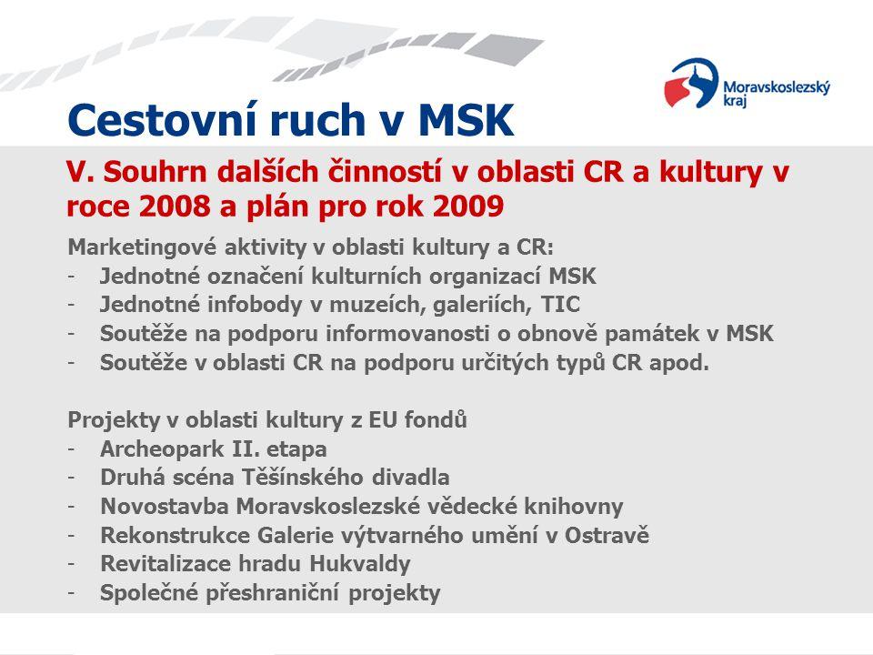Cestovní ruch v MSK V. Souhrn dalších činností v oblasti CR a kultury v roce 2008 a plán pro rok 2009 Marketingové aktivity v oblasti kultury a CR: -J