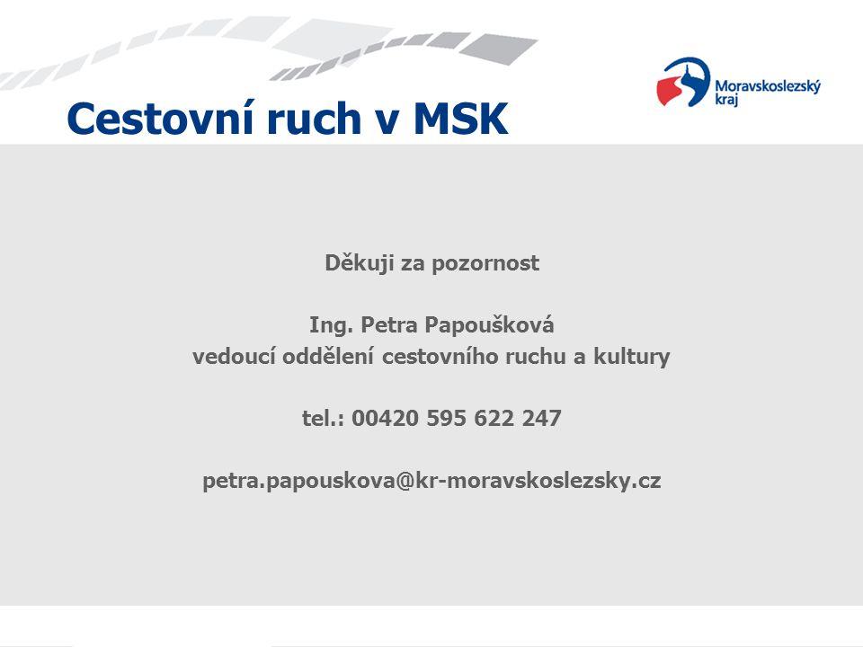 Cestovní ruch v MSK Děkuji za pozornost Ing. Petra Papoušková vedoucí oddělení cestovního ruchu a kultury tel.: 00420 595 622 247 petra.papouskova@kr-