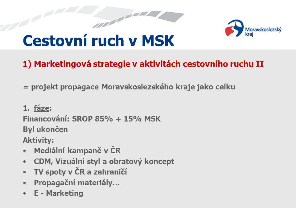 Cestovní ruch v MSK 1) Marketingová strategie v aktivitách cestovního ruchu II = projekt propagace Moravskoslezského kraje jako celku 1.fáze: Financov
