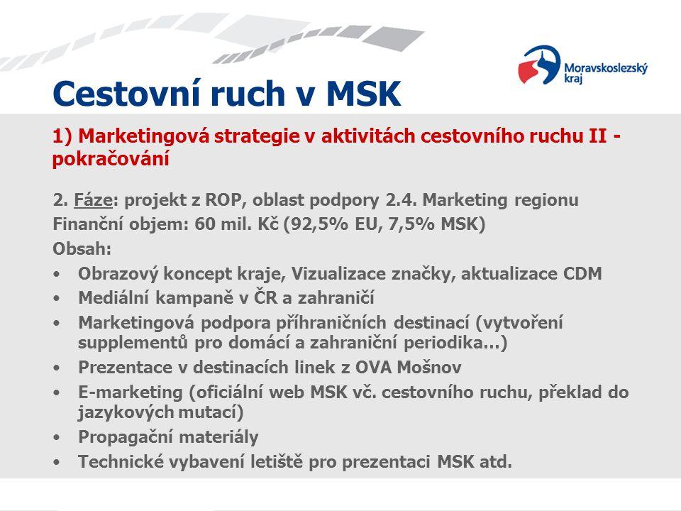 Cestovní ruch v MSK 1) Marketingová strategie v aktivitách cestovního ruchu II - pokračování 2. Fáze: projekt z ROP, oblast podpory 2.4. Marketing reg