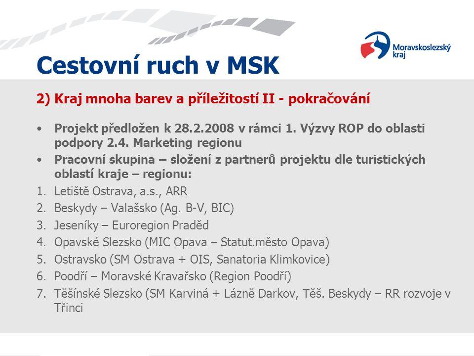 Cestovní ruch v MSK 2) Kraj mnoha barev a příležitostí II - pokračování Projekt předložen k 28.2.2008 v rámci 1. Výzvy ROP do oblasti podpory 2.4. Mar