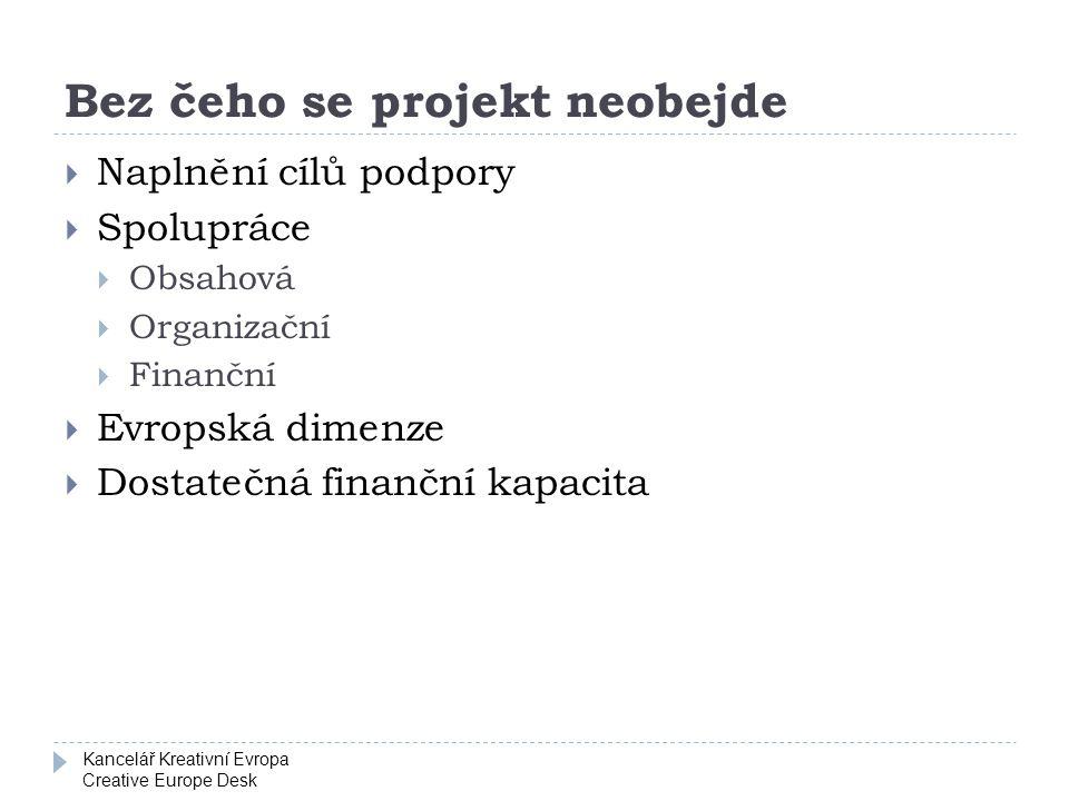 Kancelář Kreativní Evropa Creative Europe Desk Bez čeho se projekt neobejde  Naplnění cílů podpory  Spolupráce  Obsahová  Organizační  Finanční 