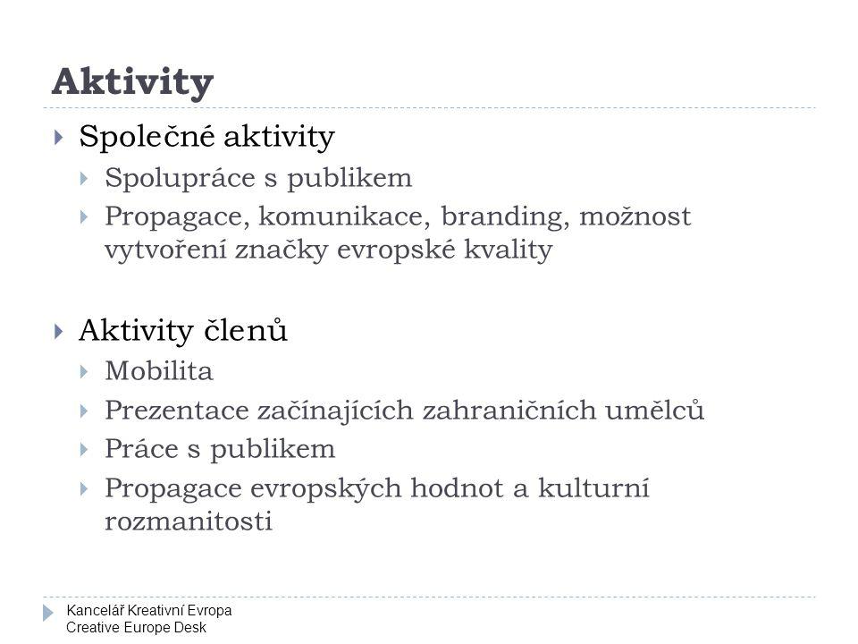 Kancelář Kreativní Evropa Creative Europe Desk Aktivity  Společné aktivity  Spolupráce s publikem  Propagace, komunikace, branding, možnost vytvoře