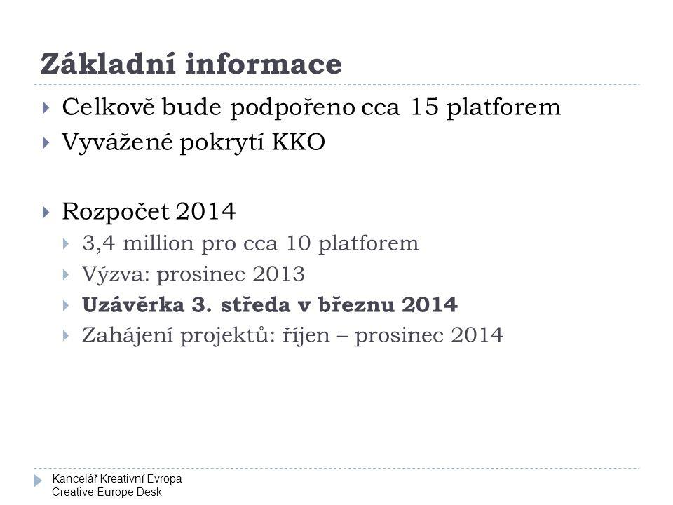 Kancelář Kreativní Evropa Creative Europe Desk Základní informace  Celkově bude podpořeno cca 15 platforem  Vyvážené pokrytí KKO  Rozpočet 2014  3