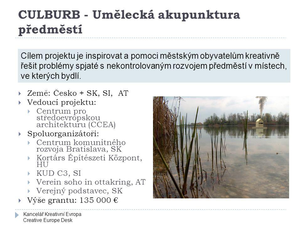Kancelář Kreativní Evropa Creative Europe Desk CULBURB - Umělecká akupunktura předměstí  Země: Česko + SK, SI, AT  Vedoucí projektu:  Centrum pro s