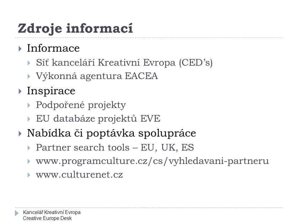 Kancelář Kreativní Evropa Creative Europe Desk Zdroje informací  Informace  Síť kanceláří Kreativní Evropa (CED's)  Výkonná agentura EACEA  Inspir