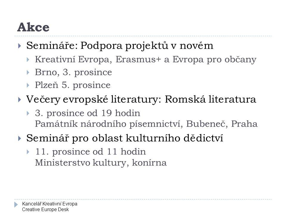Kancelář Kreativní Evropa Creative Europe Desk Akce  Semináře: Podpora projektů v novém  Kreativní Evropa, Erasmus+ a Evropa pro občany  Brno, 3. p