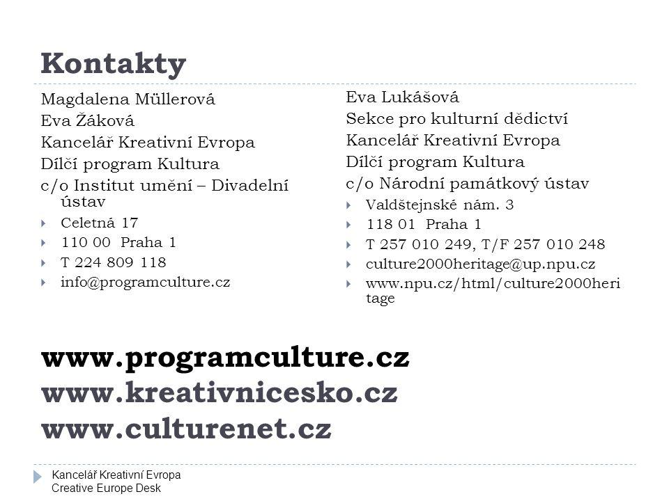 Kancelář Kreativní Evropa Creative Europe Desk Kontakty Magdalena Müllerová Eva Žáková Kancelář Kreativní Evropa Dílčí program Kultura c/o Institut um
