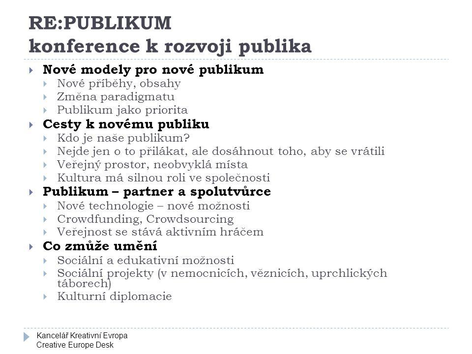 Kancelář Kreativní Evropa Creative Europe Desk RE:PUBLIKUM konference k rozvoji publika  Nové modely pro nové publikum  Nové příběhy, obsahy  Změna