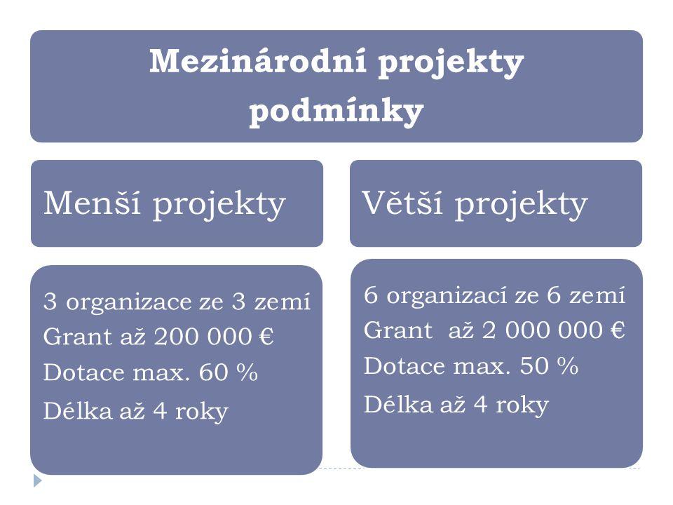 Mezinárodní projekty podmínky Menší projekty 6 organizací ze 6 zemí Grant až 2 000 000 € Dotace max. 50 % Délka až 4 roky Větší projekty 3 organizace