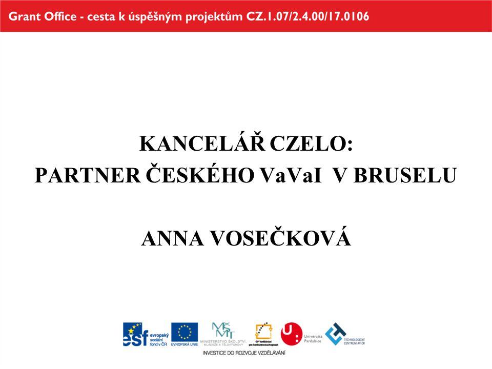 Historické Historické souvislosti Česká styčná kancelář pro výzkum a vývoj (CZELO) v Bruselu od května 2005 Projektové financování (MŠMT) 2005 - 2008 (1P05OK464, grant NPV) 2008 - 2012 (OK08005, grant EUPRO) 2013 – 2016 (LE13018, grant EUPRO II)