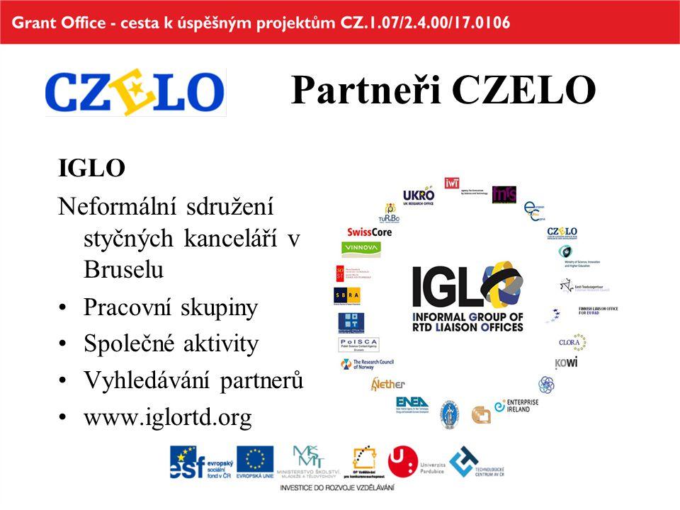 Partneři CZELO IGLO Neformální sdružení styčných kanceláří v Bruselu Pracovní skupiny Společné aktivity Vyhledávání partnerů www.iglortd.org