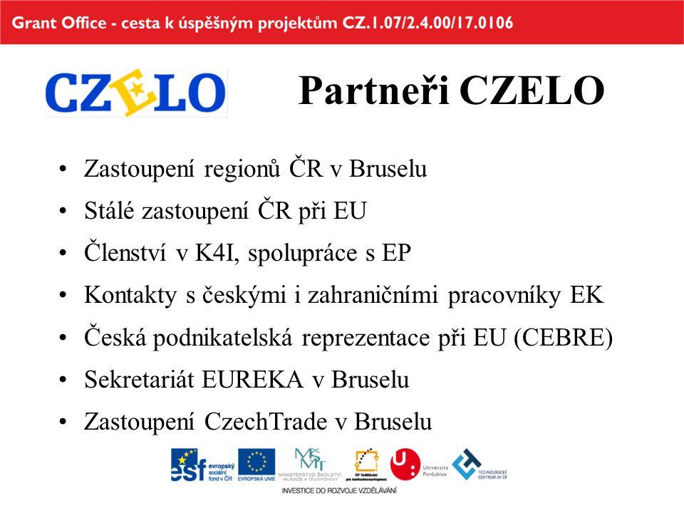 Partneři CZELO Zastoupení regionů ČR v Bruselu Stálé zastoupení ČR při EU Členství v K4I, spolupráce s EP Kontakty s českými i zahraničními pracovníky