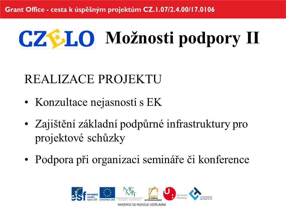 Možnosti podpory II REALIZACE PROJEKTU Konzultace nejasností s EK Zajištění základní podpůrné infrastruktury pro projektové schůzky Podpora při organi