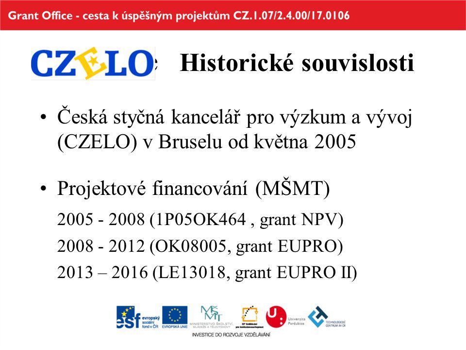 Historické Historické souvislosti Česká styčná kancelář pro výzkum a vývoj (CZELO) v Bruselu od května 2005 Projektové financování (MŠMT) 2005 - 2008