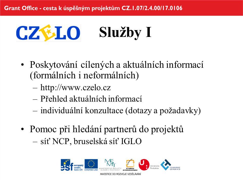 Služby I Poskytování cílených a aktuálních informací (formálních i neformálních) –http://www.czelo.cz –Přehled aktuálních informací –individuální konz