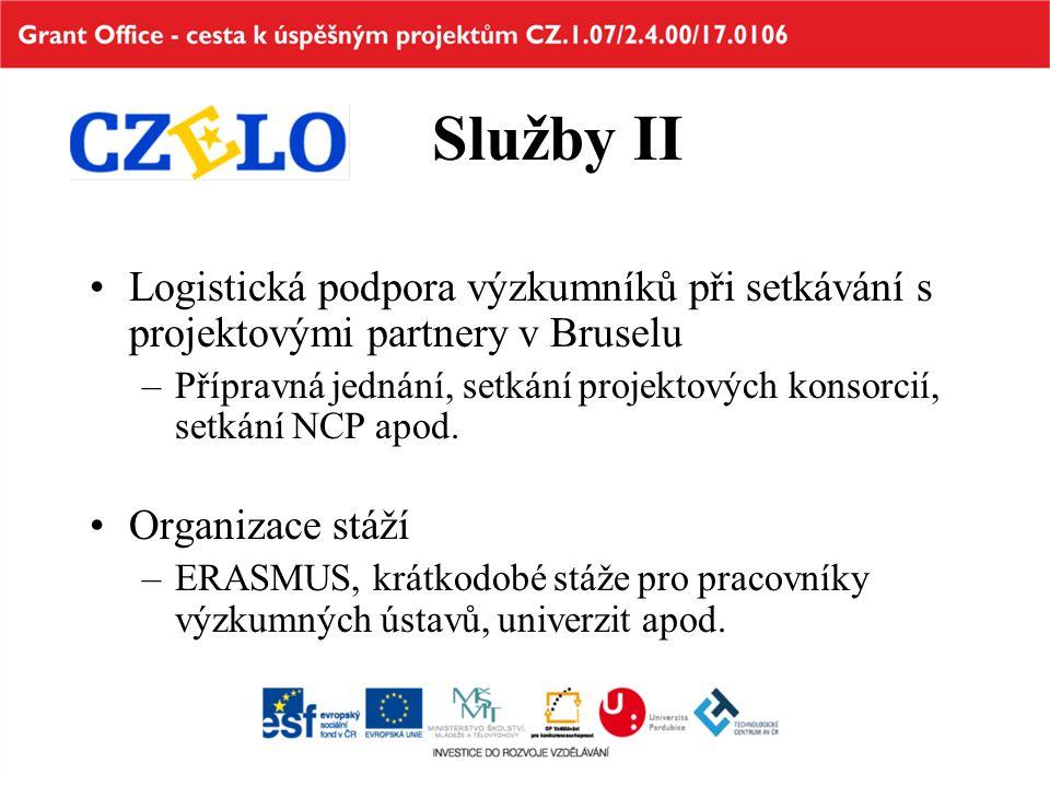 Služby II Logistická podpora výzkumníků při setkávání s projektovými partnery v Bruselu –Přípravná jednání, setkání projektových konsorcií, setkání NCP apod.