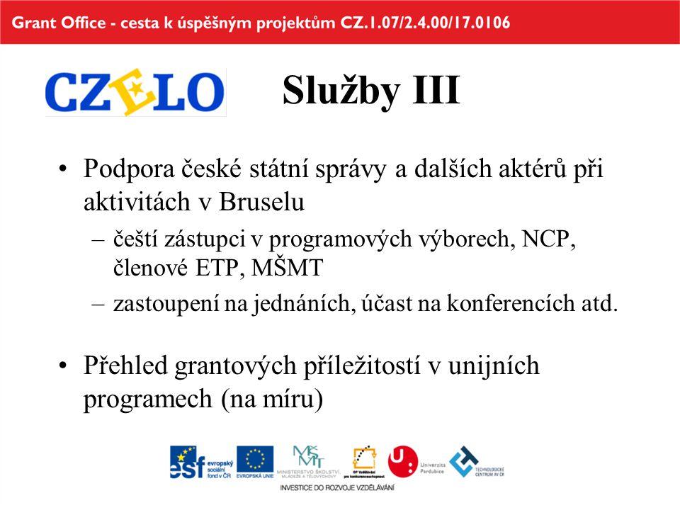 Služby III Podpora české státní správy a dalších aktérů při aktivitách v Bruselu –čeští zástupci v programových výborech, NCP, členové ETP, MŠMT –zastoupení na jednáních, účast na konferencích atd.