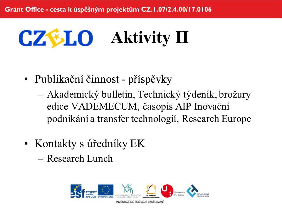 Aktivity II Publikační činnost - příspěvky –Akademický bulletin, Technický týdeník, brožury edice VADEMECUM, časopis AIP Inovační podnikání a transfer