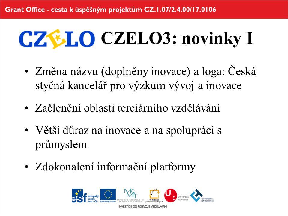CZELO3: novinky I Změna názvu (doplněny inovace) a loga: Česká styčná kancelář pro výzkum vývoj a inovace Začlenění oblasti terciárního vzdělávání Větší důraz na inovace a na spolupráci s průmyslem Zdokonalení informační platformy
