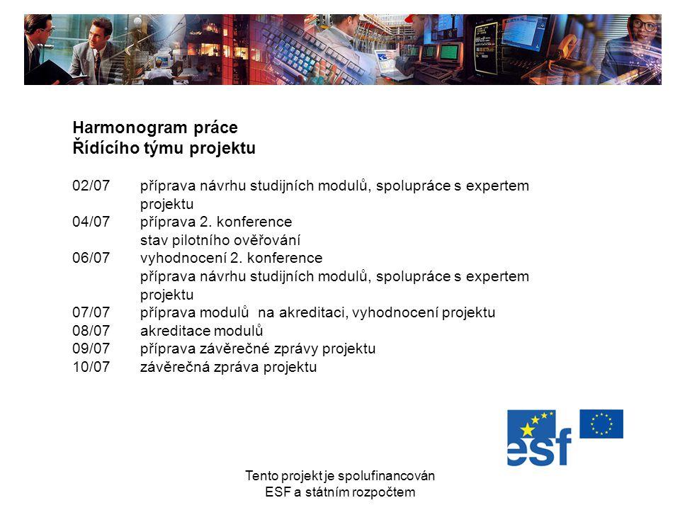 Tento projekt je spolufinancován ESF a státním rozpočtem Harmonogram práce Řídícího týmu projektu 02/07příprava návrhu studijních modulů, spolupráce s
