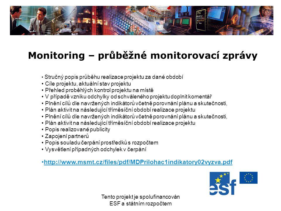 Tento projekt je spolufinancován ESF a státním rozpočtem Monitoring – průběžné monitorovací zprávy Stručný popis průběhu realizace projektu za dané ob