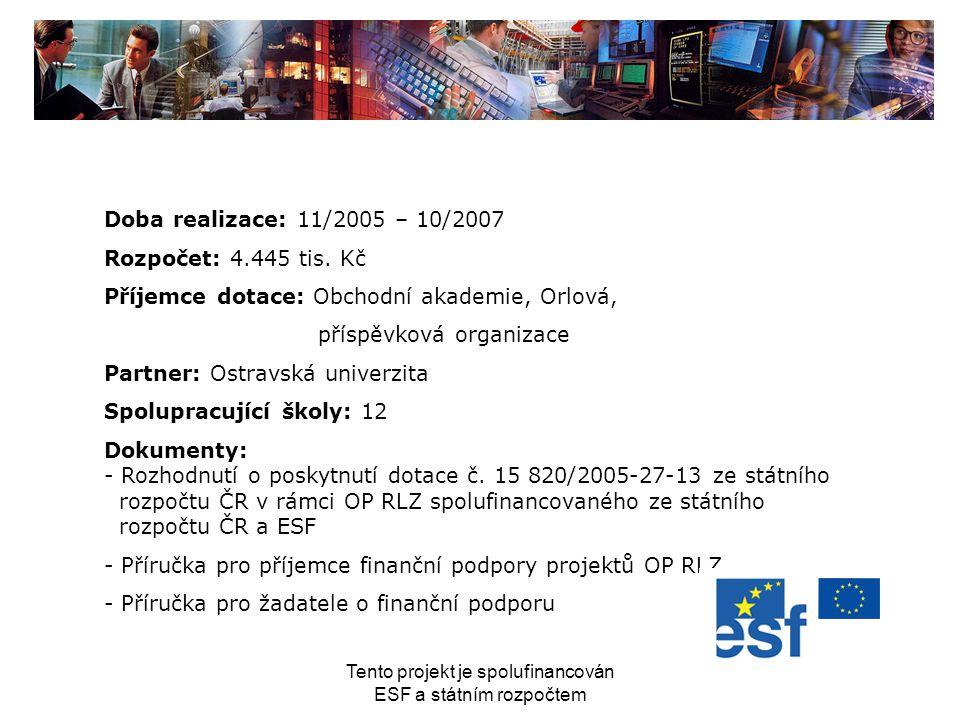 Tento projekt je spolufinancován ESF a státním rozpočtem Doba realizace: 11/2005 – 10/2007 Rozpočet: 4.445 tis. Kč Příjemce dotace: Obchodní akademie,