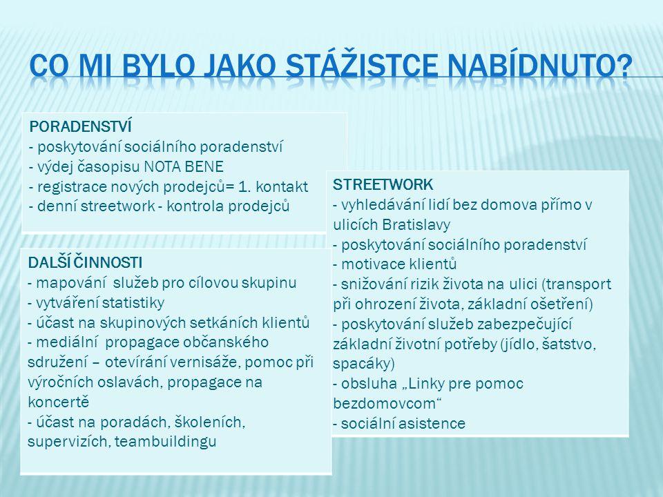 PORADENSTVÍ - poskytování sociálního poradenství - výdej časopisu NOTA BENE - registrace nových prodejců= 1. kontakt - denní streetwork - kontrola pro