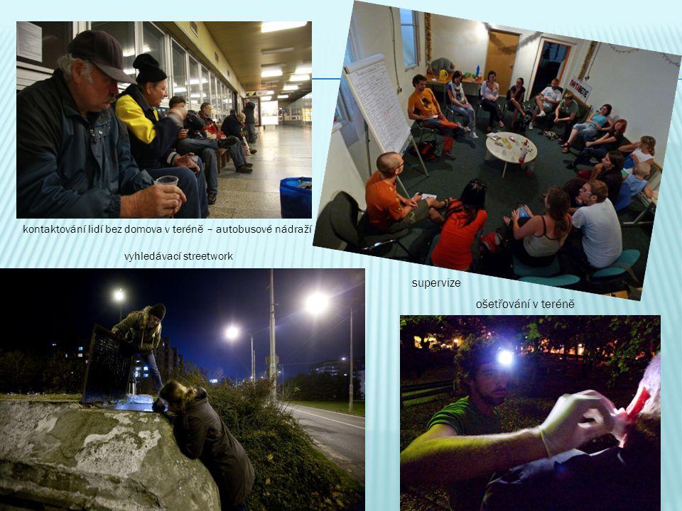 kontaktování lidí bez domova v teréně – autobusové nádraží vyhledávací streetwork ošetřování v teréně supervize