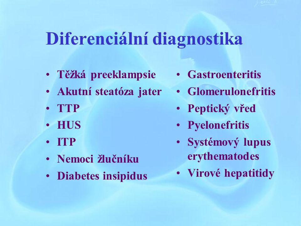 Diferenciální diagnostika Těžká preeklampsie Akutní steatóza jater TTP HUS ITP Nemoci žlučníku Diabetes insipidus Gastroenteritis Glomerulonefritis Peptický vřed Pyelonefritis Systémový lupus erythematodes Virové hepatitidy
