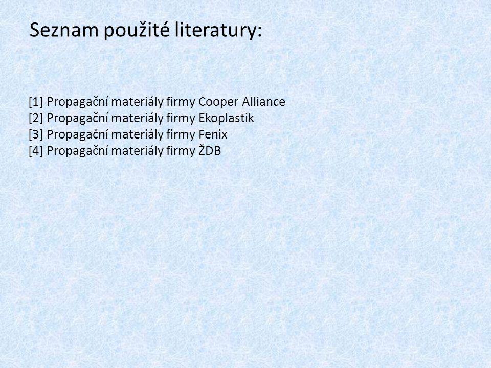 Seznam použité literatury: [1] Propagační materiály firmy Cooper Alliance [2] Propagační materiály firmy Ekoplastik [3] Propagační materiály firmy Fen